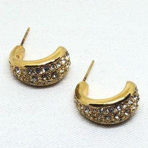 🆕Swarovski Gold & Crystal Half-hoop Earrings